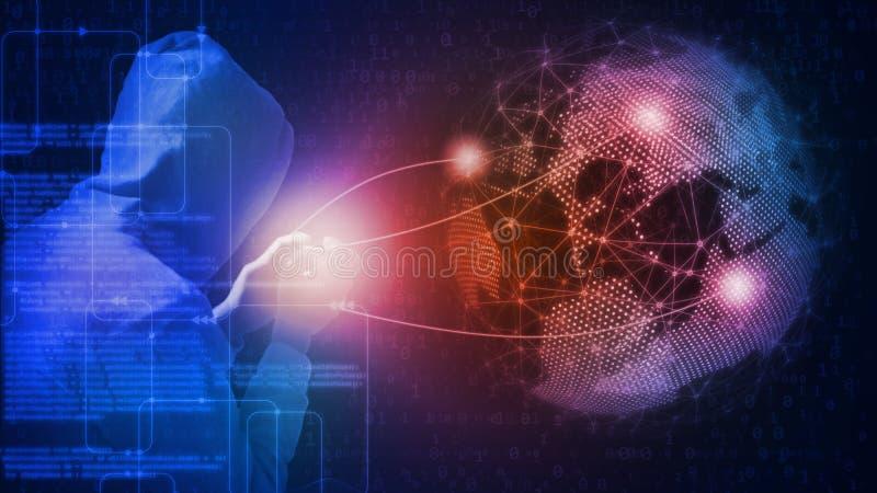 Wiedergabe 3D des globalen Cyberangriffskonzeptes Hacker, der Computerprogrammierungswissen und -Handy verwendet lizenzfreie abbildung