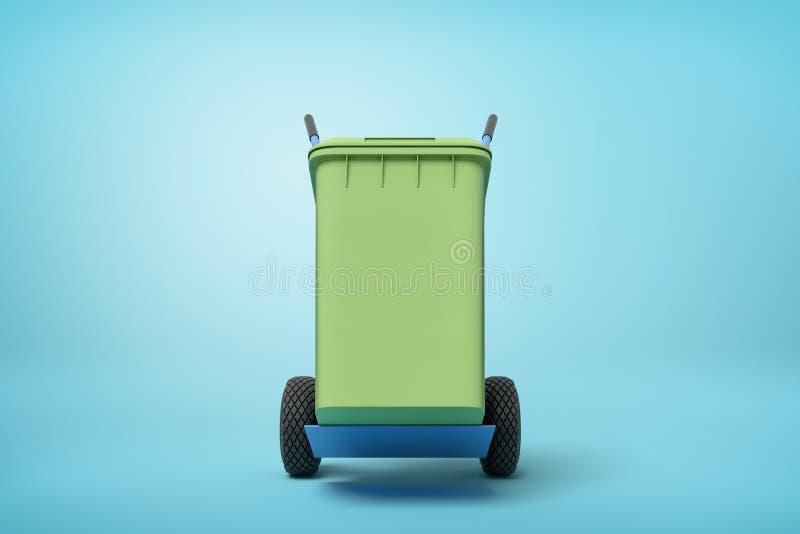 Wiedergabe 3d des grünen Abfalleimers auf blauem Hand-LKW, der in der halben Drehung auf hellblauem Hintergrund mit Kopie steht lizenzfreie abbildung