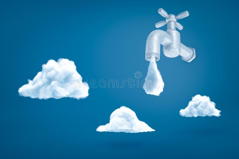 Wiedergabe 3d des grauen Hahns mit dem Wasserrückgang ungefähr, zum auf blauen Hintergrund mit drei weißen Wolken zu fallen stock abbildung