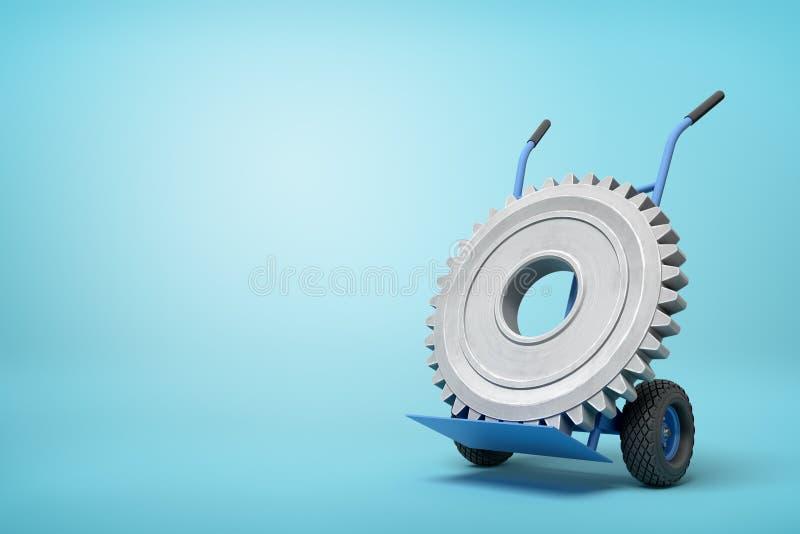Wiedergabe 3d des großen grauen Radgangs auf blauem Hand-LKW, der in der halben Drehung auf hellblauem Hintergrund mit viel steht stock abbildung