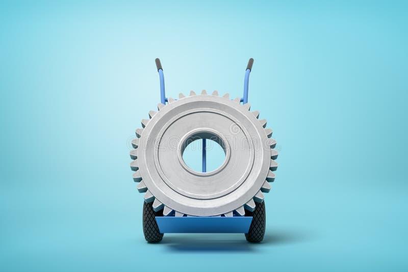 Wiedergabe 3d des gro?en grauen Radgangs auf blauem Hand-LKW, der in der halben Drehung auf hellblauem Hintergrund mit viel steht vektor abbildung