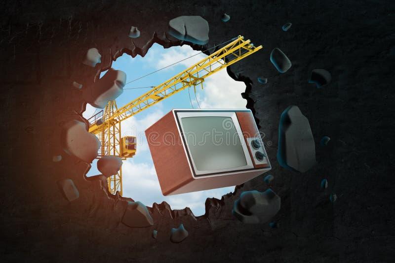 Wiedergabe 3d des Hochziehens des Kranes Retro- Fernseher tragend und die schwarze Wand brechend, die Loch in ihm mit blauem Himm stock abbildung