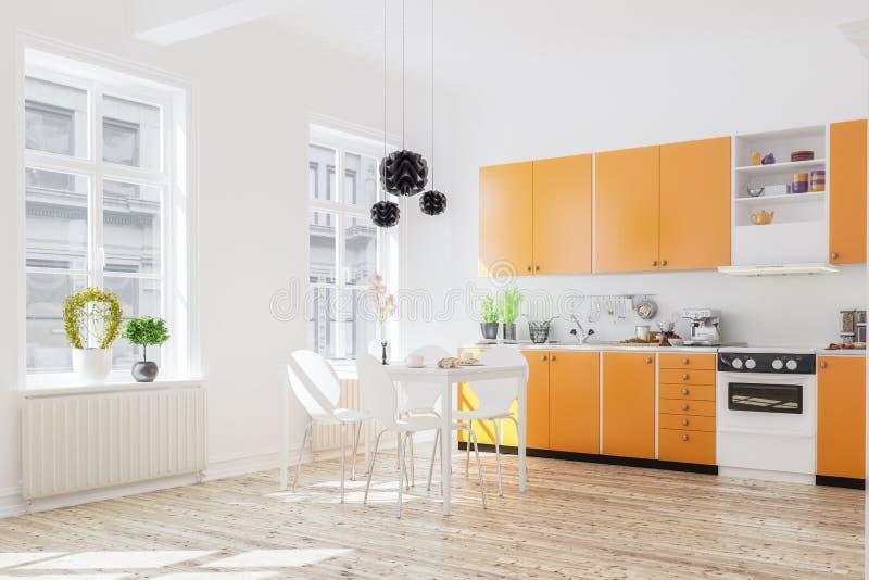 Download Wiedergabe 3d Des Kücheninnenraums Im Modernen Haus Mit Abendessen Tabl Stock Abbildung - Illustration: 101417742