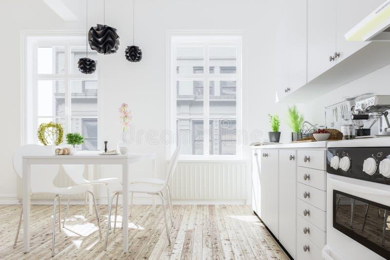 Download Wiedergabe 3d Des Kücheninnenraums Im Modernen Haus Mit Abendessen Tabl Stock Abbildung - Illustration: 76420671