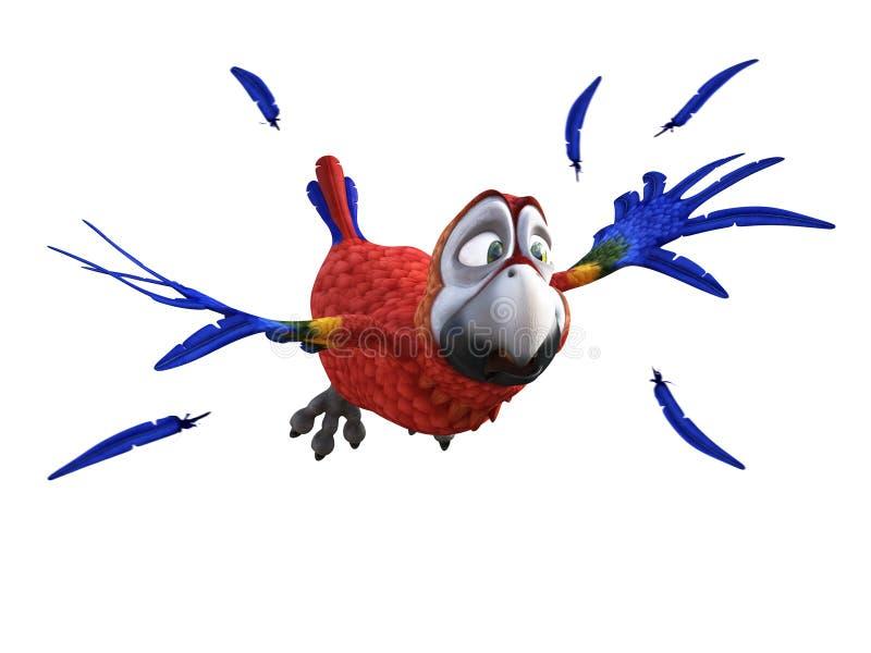 Wiedergabe 3D des Karikaturpapageien schauend ängstlich beim Fliegen lizenzfreie abbildung