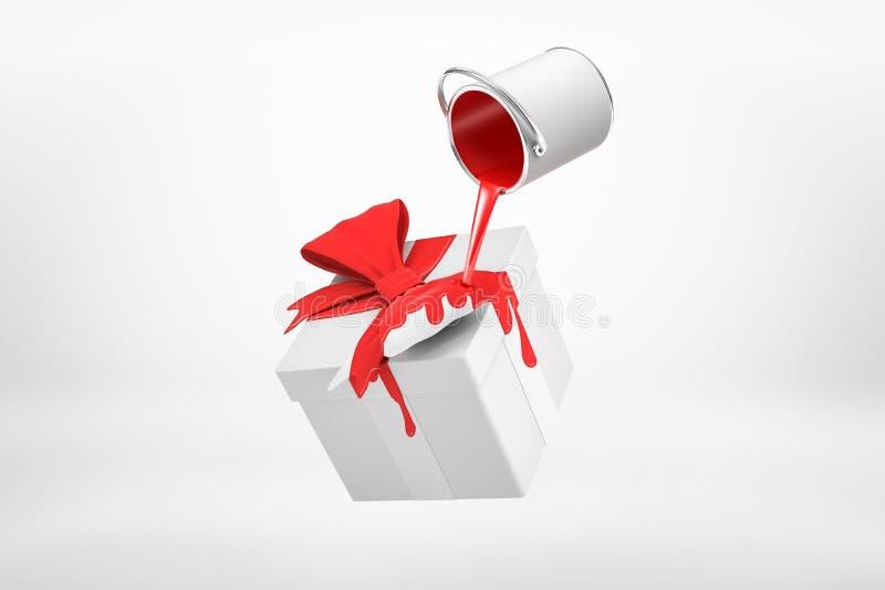 Wiedergabe 3d des kleinen silbernen Farbeimers drehte sich umgedreht mit der roten Farbe, die auf weiße Geschenkbox mit rotem Ban stock abbildung