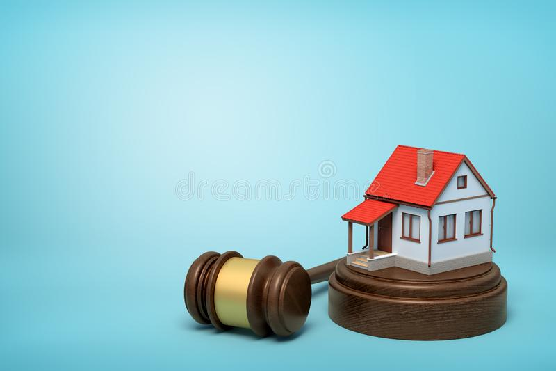 Wiedergabe 3d des kleinen weißen Hauses mit rotem Dach auf rundem Holzklotz und braunem hölzernem Hammer auf blauem Hintergrund vektor abbildung