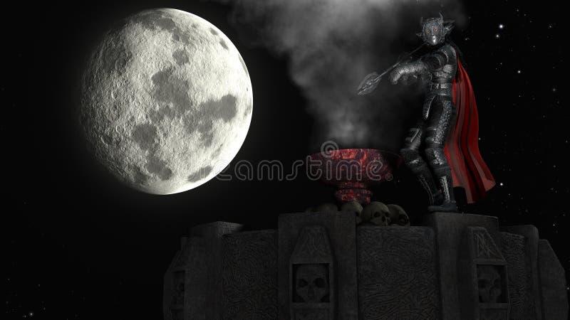 Wiedergabe 3D des Kriegers auf Turm am Mondhintergrund stockbild