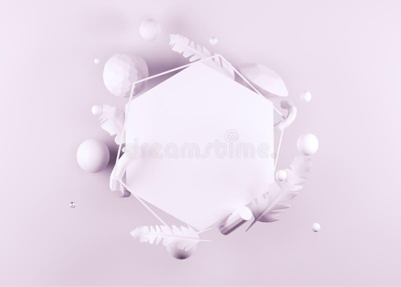 Wiedergabe 3D des leeren Hexagonrahmens verziert mit Federn, Perlen und Kristallelementen wie Diamanten, Rohre auf Purpur vektor abbildung