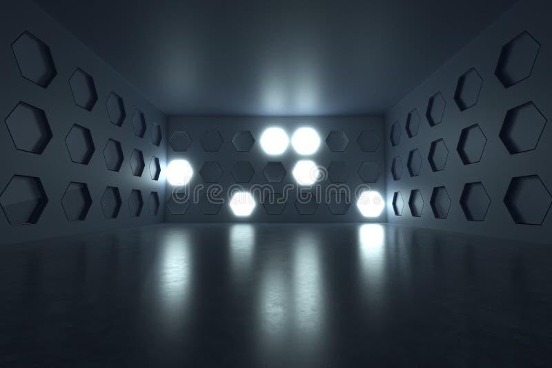 Wiedergabe 3d des leeren Raumes mit erleichtern Hexagonwand und -Schmutz lizenzfreie abbildung