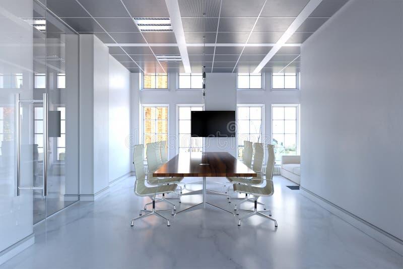 Wiedergabe 3d des Luxusfinanzzentrums oder des Konferenzsaalinnenraums mit Marmorbodenbelag stock abbildung