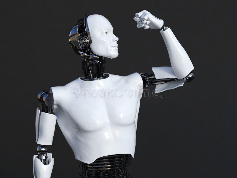 Wiedergabe 3D des männlichen Roboters seinen Bizepsmuskel biegend vektor abbildung
