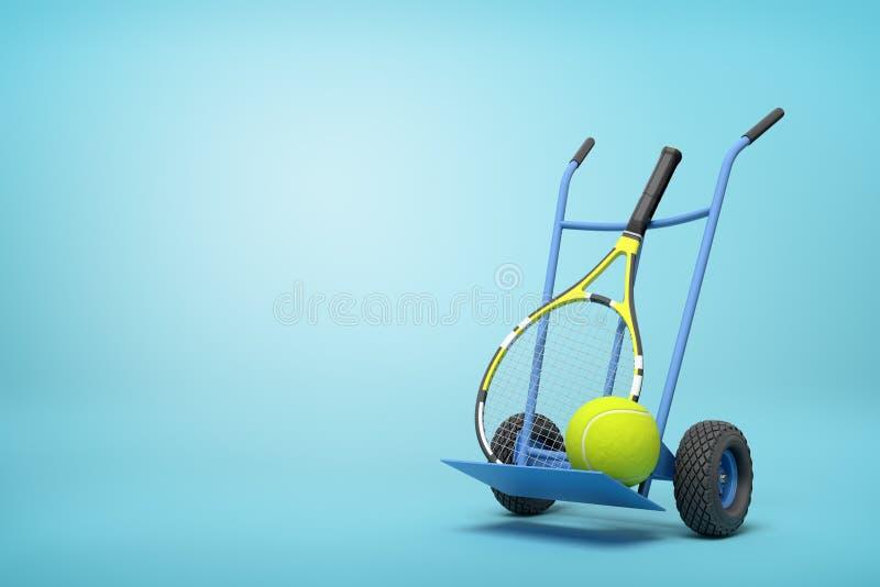 Wiedergabe 3d des Marineblau-Hand-LKWs, der aufrecht in der halben Drehung mit Tennisball und Schl?ger auf ihm auf hellblauem ste lizenzfreie abbildung