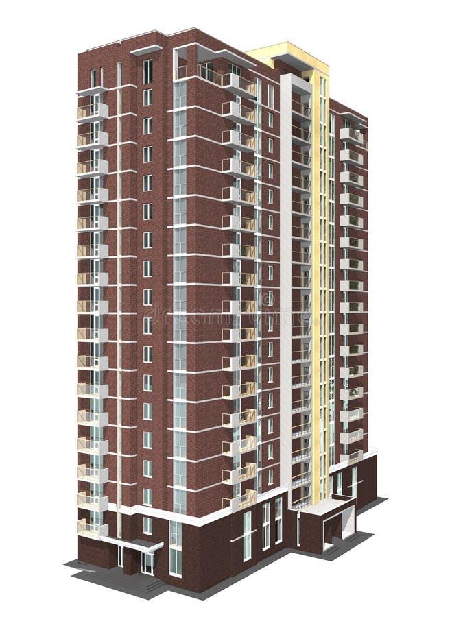 Wiedergabe 3d des modernen mehrstöckigen Wohngebäudes stock abbildung