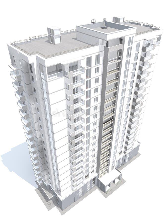 Wiedergabe 3d des modernen mehrstöckigen Wohngebäudes vektor abbildung