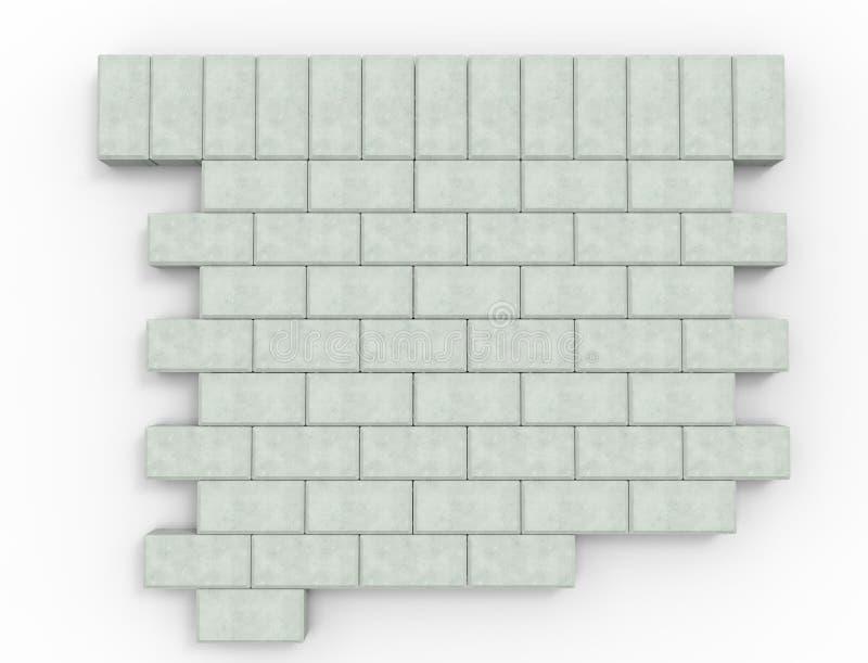 Wiedergabe 3d des Pflasterungssteinmusters lokalisiert im weißen Studiohintergrund vektor abbildung