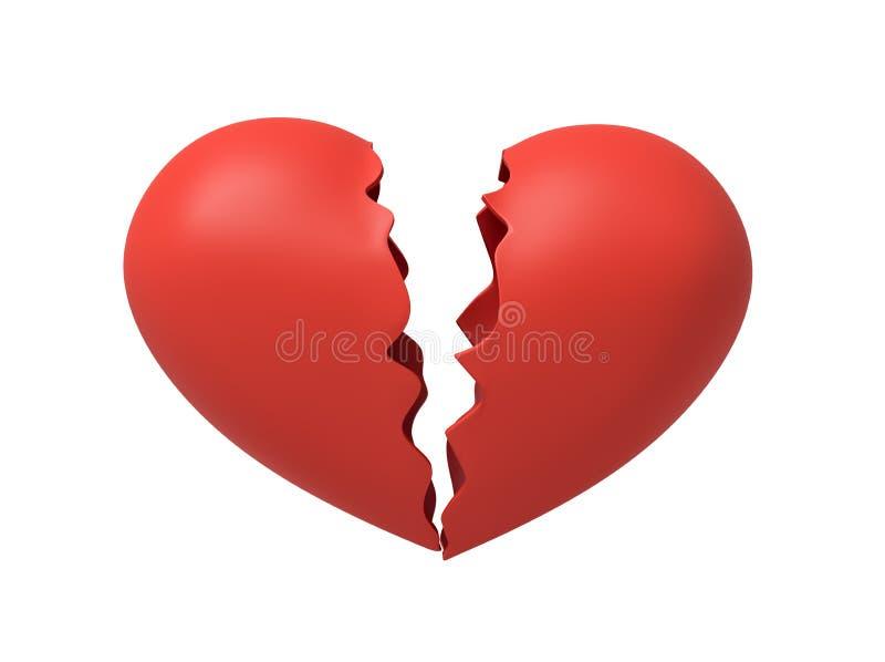 Wiedergabe 3d des roten defekten Herzens lokalisiert auf weißem Hintergrund lizenzfreie abbildung