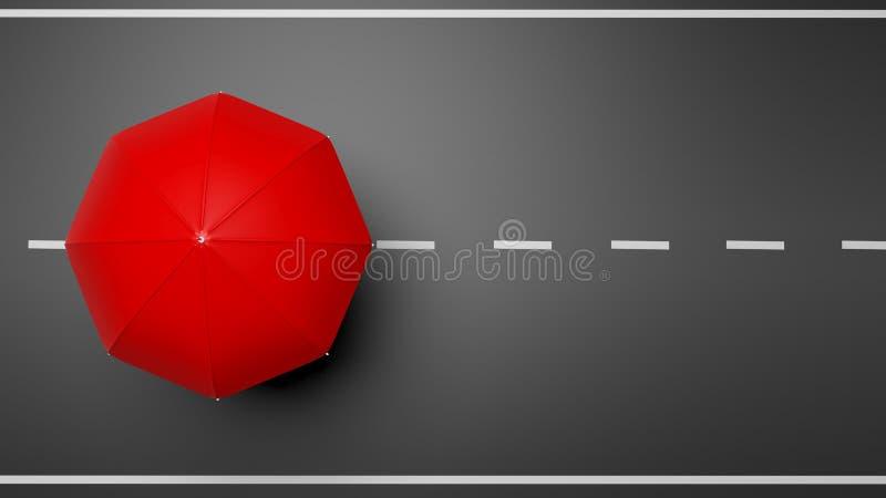 Wiedergabe 3D des roten Regenschirmes auf Straße stock abbildung