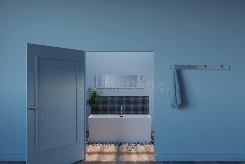 Wiedergabe 3d des weißen Badezimmers mit rechteckiger Wanne auf Kieselst. lizenzfreie abbildung