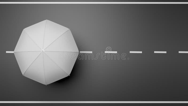 Wiedergabe 3D des weißen Regenschirmes auf Straße lizenzfreie abbildung