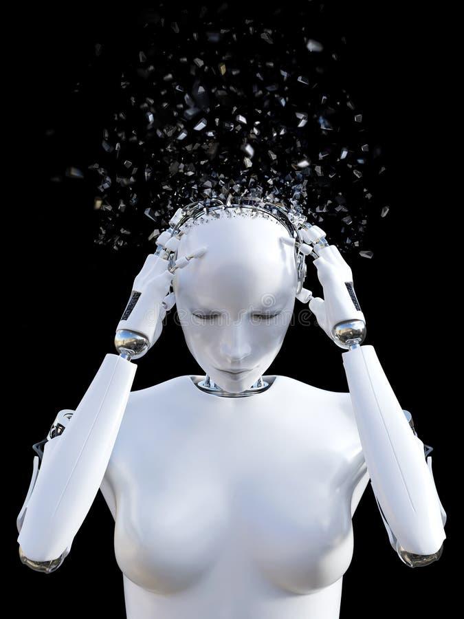 Wiedergabe 3D des weiblichen Roboterkopfes, der von den Kopfschmerzen zerbricht vektor abbildung