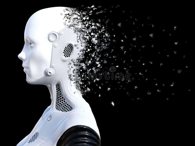 Wiedergabe 3D des weiblichen Roboterkopfes, der zerbricht stock abbildung