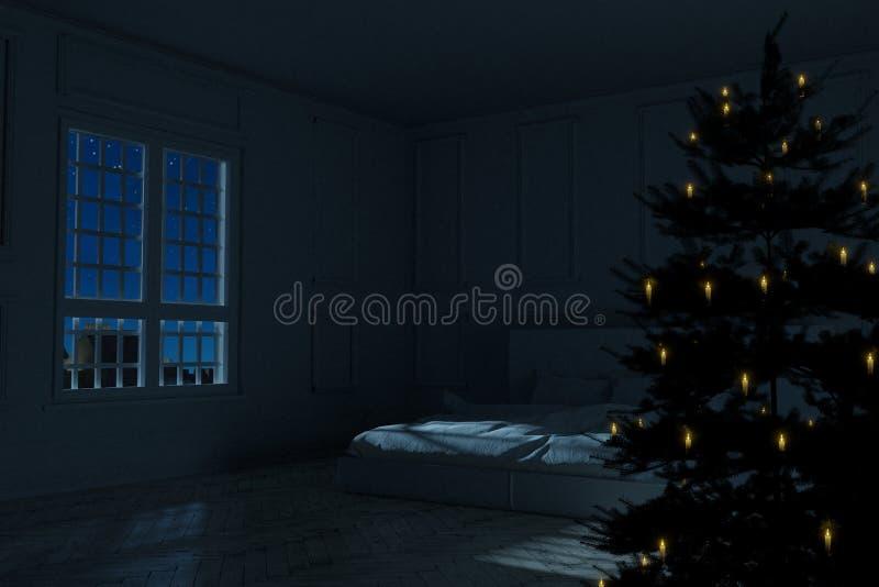 Wiedergabe 3d des Weinleseschlafzimmers mit Weihnachtsbaum nachts lizenzfreie abbildung