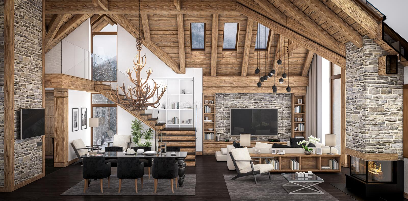 Wiedergabe 3D des Wohnzimmers des Chalets stock abbildung
