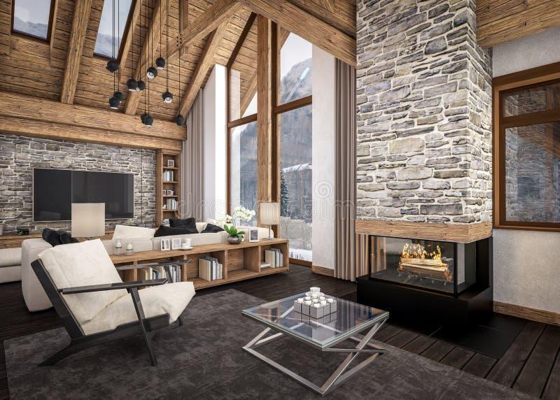 Wiedergabe 3D des Wohnzimmers des Chalets lizenzfreie abbildung