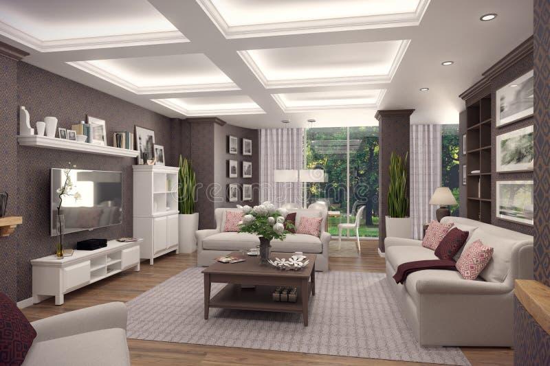 Wiedergabe 3D des Wohnzimmers einer klassischen Wohnung stock abbildung