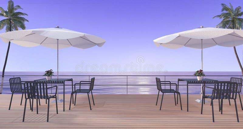Wiedergabe 3d, die Satz auf hölzerner Terrasse nahe Meer im Sommer mit Regenschirmstrand in der Dämmerungsszene speist vektor abbildung