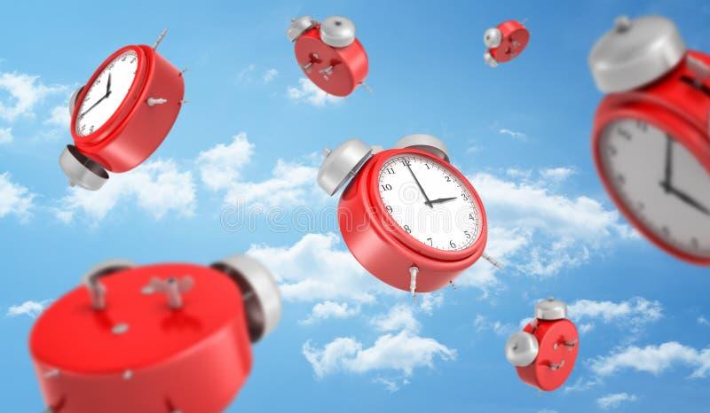 Wiedergabe 3d, die vieler roten runden Retro- Wecker unten fallen auf den Hintergrund eines blauen Himmels mit weißen Wolken ist lizenzfreies stockfoto