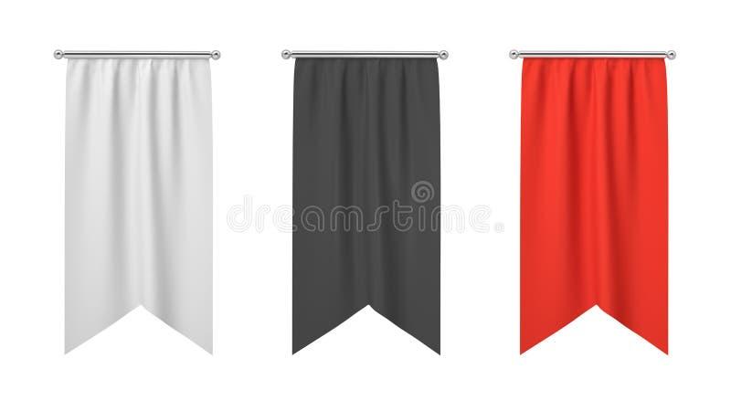 Wiedergabe 3d drei rechteckiges Schwarzes, weiß und von den roten Fahnen, die vertikal an einem weißen Hintergrund hängen vektor abbildung