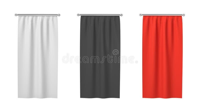 Wiedergabe 3d drei rechteckiges Schwarzes, weiß und von den roten Fahnen, die vertikal an einem weißen Hintergrund hängen stock abbildung