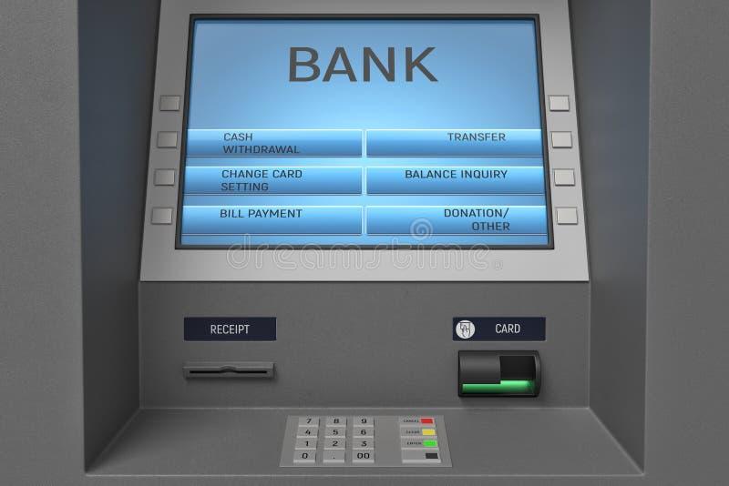Wiedergabe 3d einer ATM-Maschine mit seiner Schirm- und Knopfplatte in einer nahen Ansicht stock abbildung