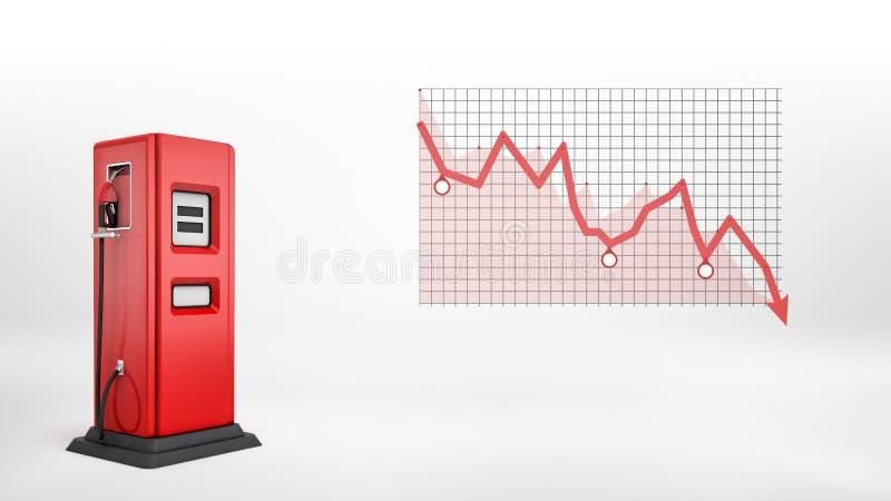 Wiedergabe 3d einer einzelnen roten Tanksäule in der Seitenansicht, die neben einem roten negativen Statistikdiagramm steht stockfotos