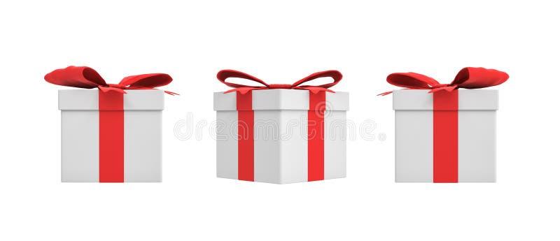 Wiedergabe 3d einer Geschenkbox des weißen Quadrats mit einem roten Bandbogen in drei verschiedenen Seitenansichten vektor abbildung