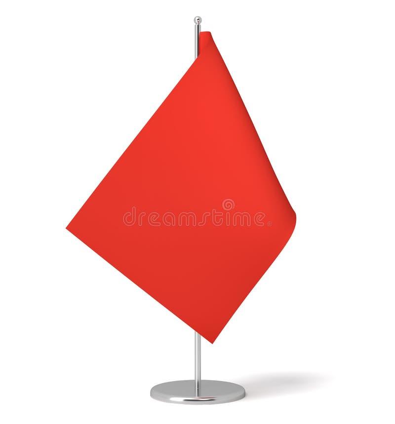 Wiedergabe 3d einer kleinen roten rechteckigen Flagge auf einer Tabellenpostenstellung auf weißem Hintergrund stock abbildung