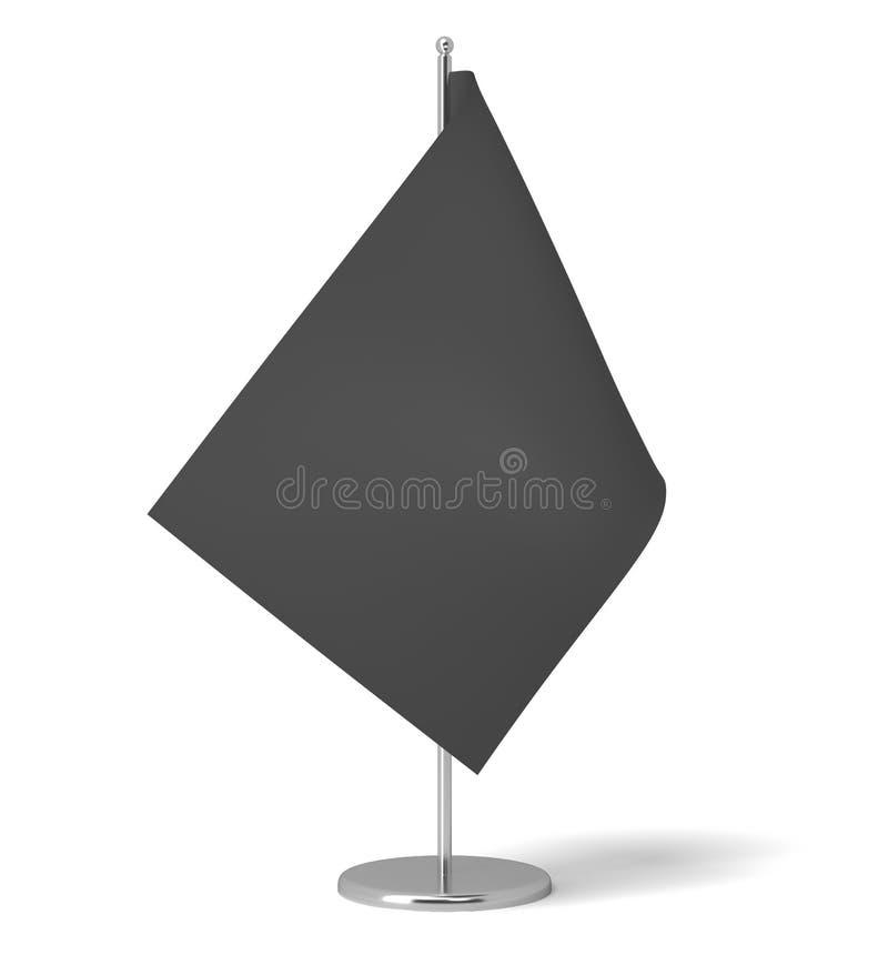 Wiedergabe 3d einer kleinen schwarzen rechteckigen Flagge auf einer Tabellenpostenstellung auf weißem Hintergrund vektor abbildung