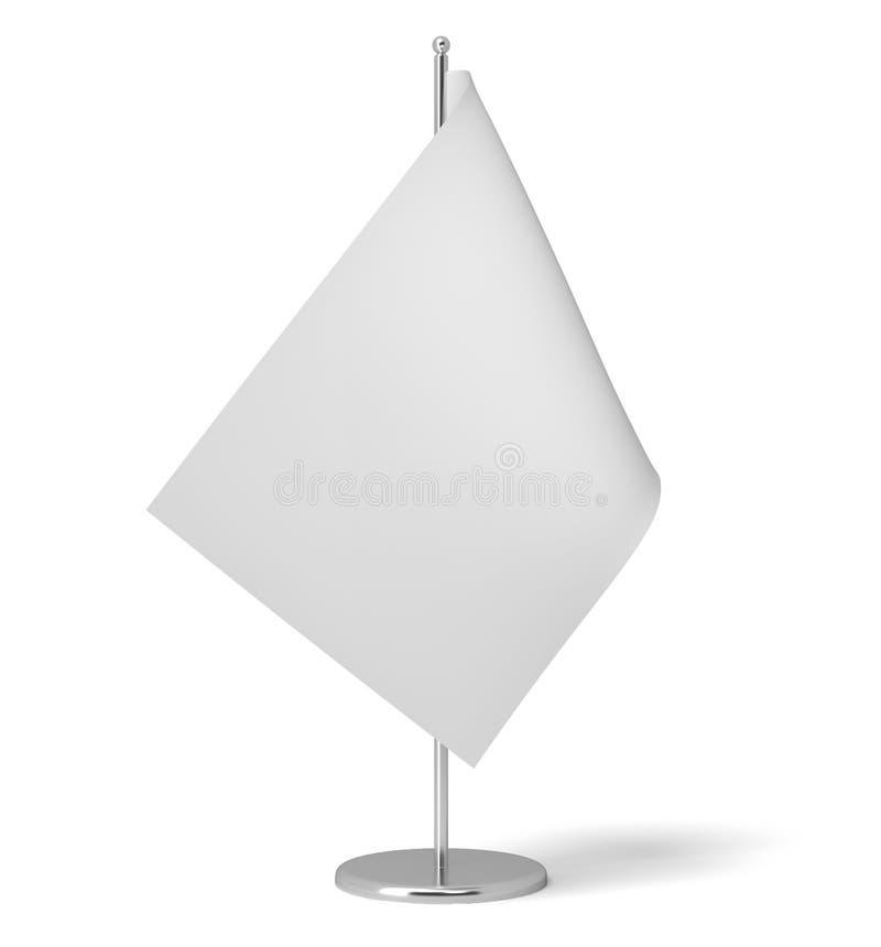 Wiedergabe 3d einer kleinen weißen rechteckigen Flagge auf einer Tabellenpostenstellung auf weißem Hintergrund lizenzfreies stockbild