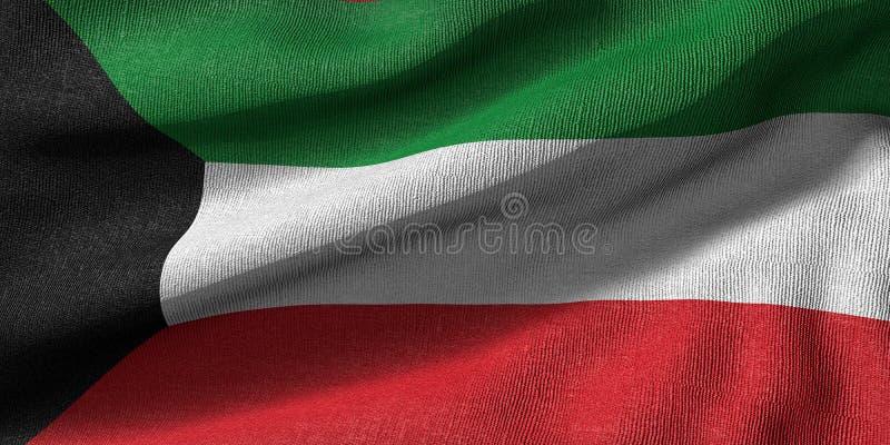 Wiedergabe 3d einer Kuwait-Flagge mit Gewebebeschaffenheit lizenzfreie abbildung