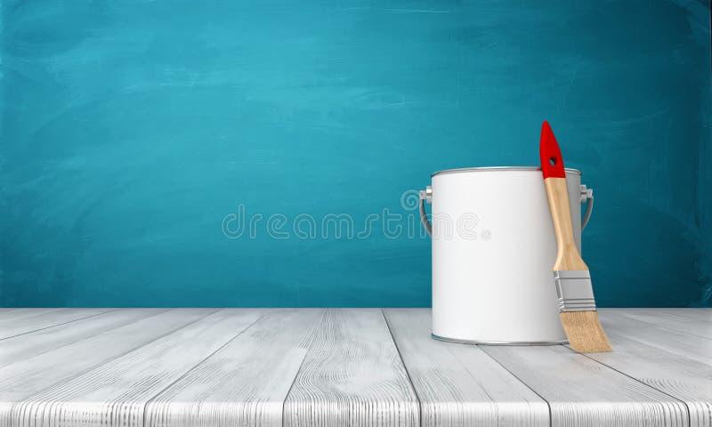 Wiedergabe 3d einer Metallfarbe kann auf einem hölzernen Schreibtisch mit einem neuen die Bürste säubern, die auf seiner Seite si stockbilder