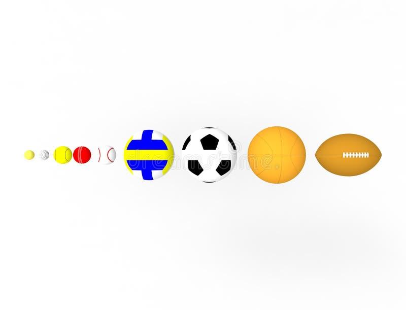 Wiedergabe 3d einer Reihe der Sportbälle lokalisiert auf weißem Hintergrund stock abbildung