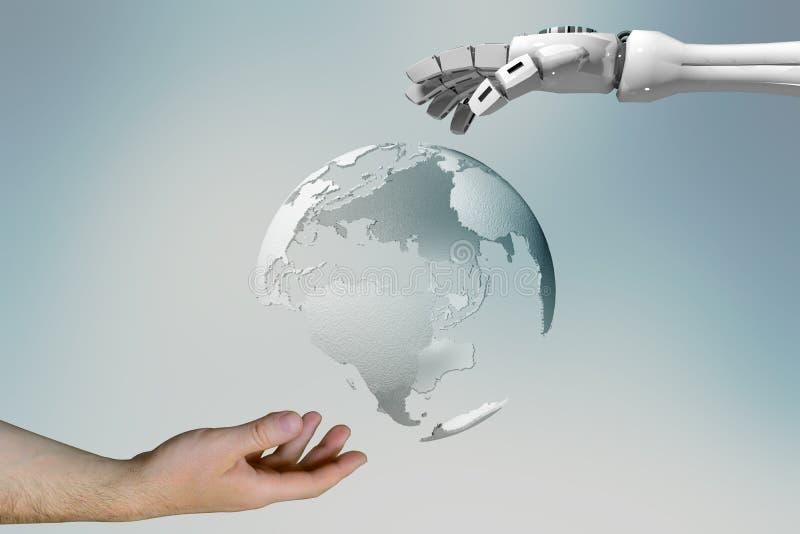 Wiedergabe 3d einer Roboterhand und der Hand eines Mannes, welche die digitale Welt berühren lizenzfreie abbildung