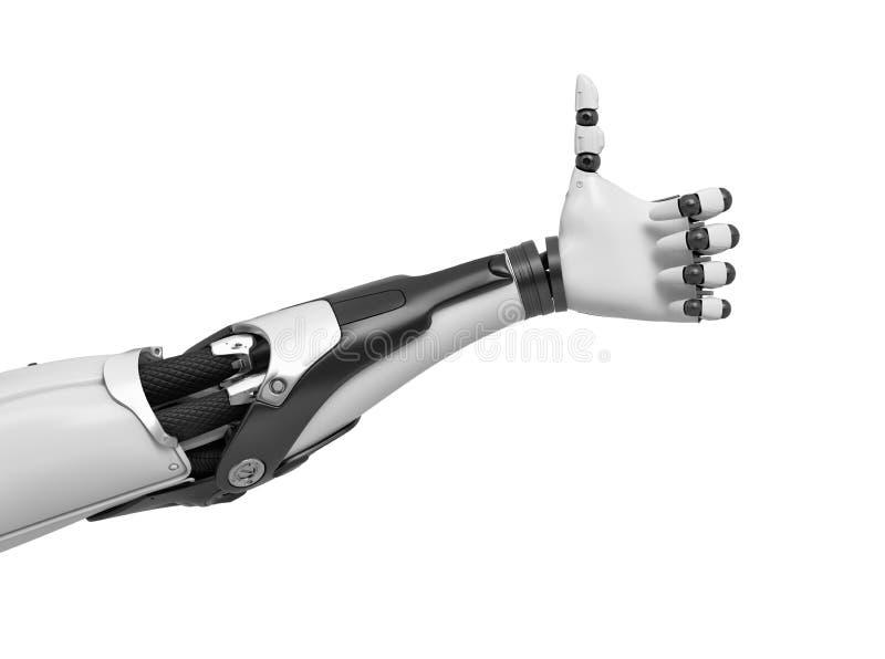 Wiedergabe 3d einer Schwarzweiss-Roboterhand, welche die Daumen-oben genehmigen Geste herstellt vektor abbildung