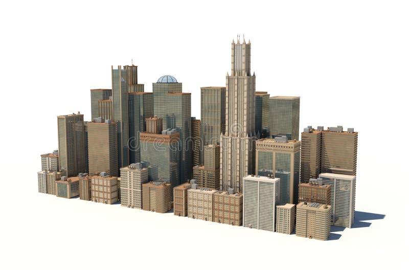 Wiedergabe 3d einer Stadtlandschaft mit den Bürogebäuden und Wolkenkratzern lokalisiert auf weißem Hintergrund stock abbildung