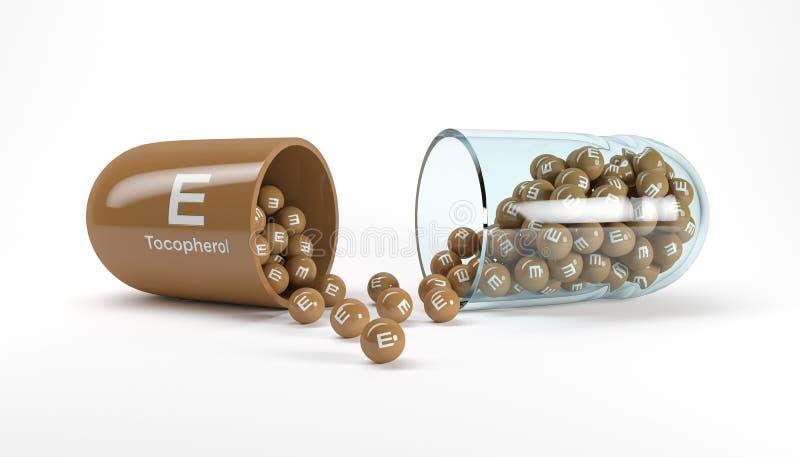 Wiedergabe 3d einer Vitaminkapsel mit Vitamin E - Tocopherol lizenzfreie abbildung