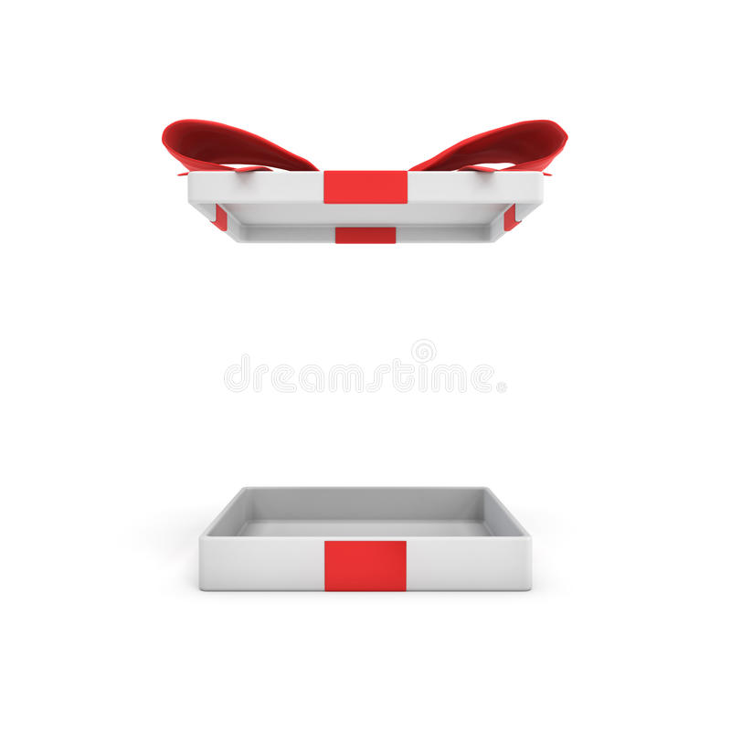Wiedergabe 3d einer weißen flachen Geschenkbox mit einem roten Bogen auf weißem Hintergrund mit dem geöffneten Deckel hoch, der o lizenzfreie abbildung