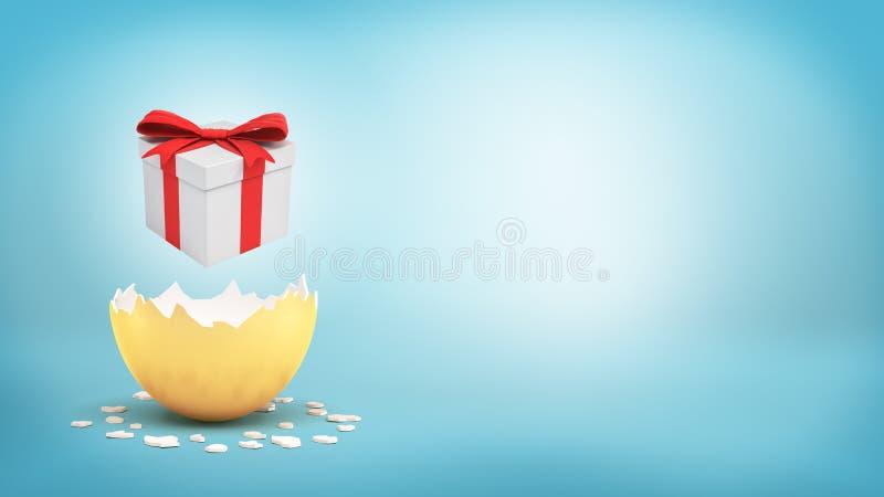 Wiedergabe 3d einer weißen Geschenkbox mit einem roten Bogen schwebt über einem gebrochenen goldenen Ei auf blauem Hintergrund vektor abbildung