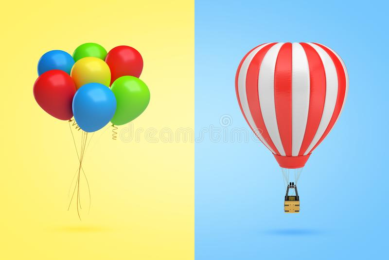 Wiedergabe 3d eines Bündels mehrfarbiger Ballone auf gelbem Hintergrund auf dem links und eines Heißluftballons auf Licht stock abbildung